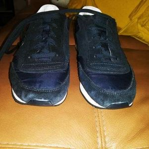 Tory Burch Navy Blue Suede Athletic Sneakers